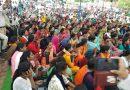 गांधी पदयात्रा निकालकर हजारों अनियमित कर्मचारियों ने राजधानी में किया प्रदर्शन