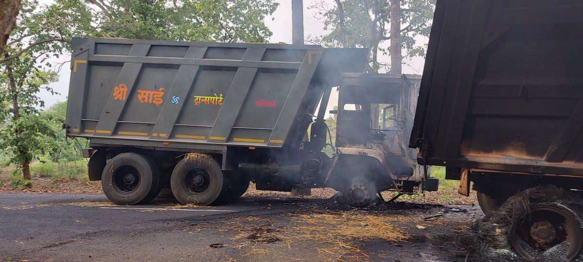 गढ़चिरौली में नक्सलियों ने 4 ट्रकों को किया आग के हवाले… महिला माओवादी के मारे जाने के विरोध में आज बंद का ऐलान किया है…